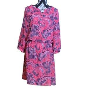 Lauren Ralph Lauren Silky Pink Paisley Dress Sz 10